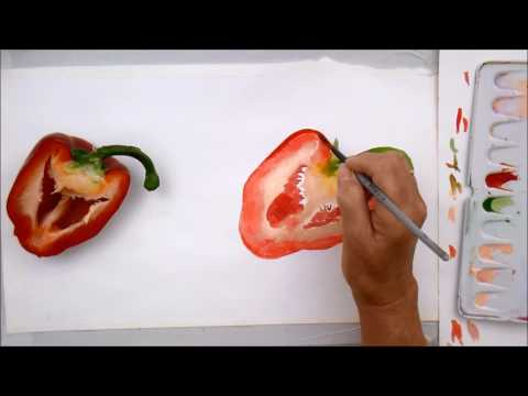 Paint this half a red pepper in bright watercolour paints, 20 minutes of painting fun