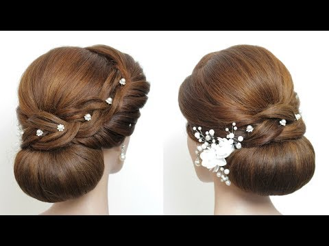 New Low Bun Hairstyle For Long Hair. Latest Bridal Updo Tutorial thumbnail