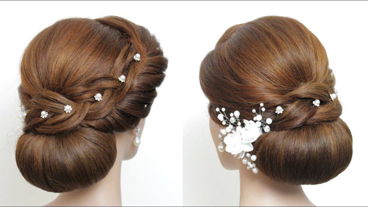 new low bun hairstyle for long hair. latest bridal updo tutorial