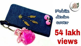 DIY JEAN FLIP PHONE CASE NO SEW & FAST WAY TO MAKE WITH CREDIT CARD HOLDER || DA hobbies-diy