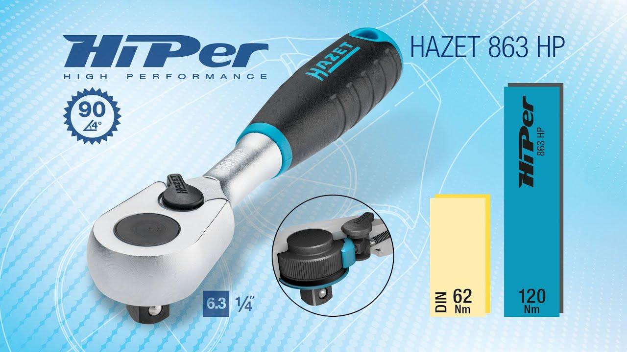 "863HP HAZET HiPer Feinzahn-Umschaltknarre 863HP ∙ 4-kant massiv 6,3 mm 1//4/"""