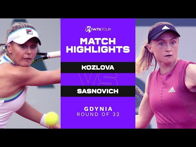 Kateryna Kozlova vs. Aliaksandra Sasnovich | 2021 Gdynia Round of 32 | WTA Match Highlights