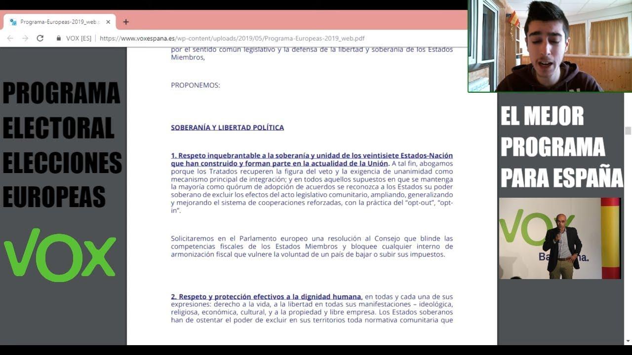 dac2ca41c PROGRAMA DE VOX PARA LAS ELECCIONES AL PARLAMENTO EUROPEO  ESPAÑA ...