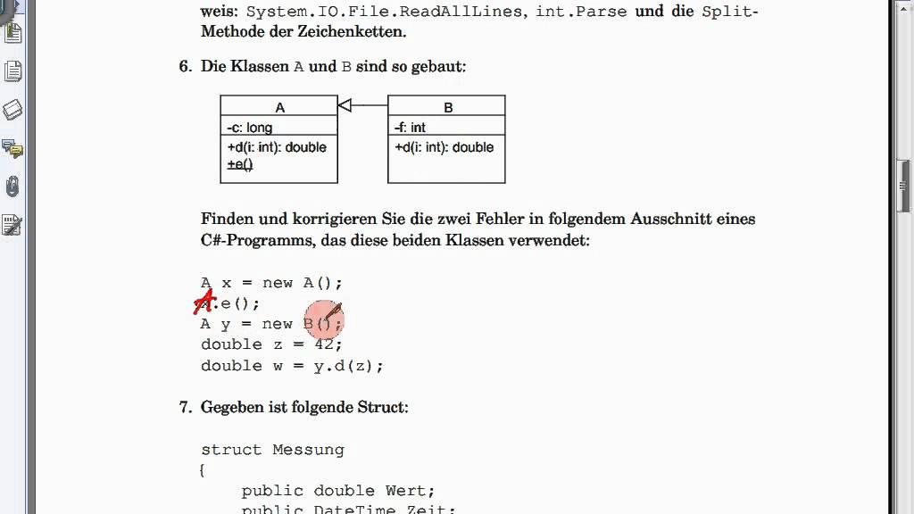 K09A UML-Diagramm versus C#-Code; Klausur 2011-06-13 ...