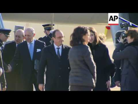 French President Hollande arrives in US