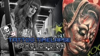 Tattoo Time Lapse - Moni Marino - Tattoos Black and Grey Infused with Color Female Clown