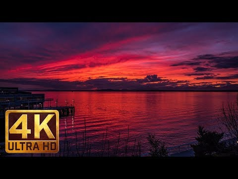 Sunsets in Seattle - 1 Hour 4K Relax Video + Ambient Music for Sleep, Relaxation, Destress, Insomnia