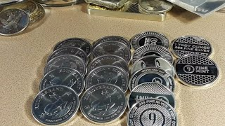 9 Fine Mint latest silver rounds. Some disappointing Krugerrands