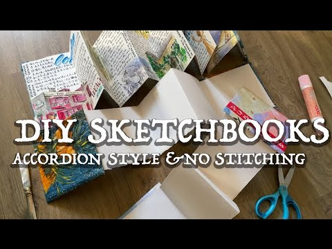 DIY WATERCOLOR SKETCHBOOKS  (Accordion Style/ NO STITCHING)