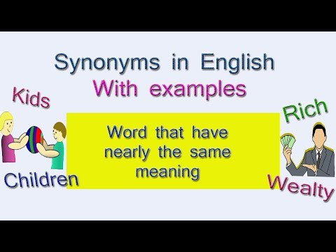 Synonyms Words In English  | Examples Of Synonyms Words In English