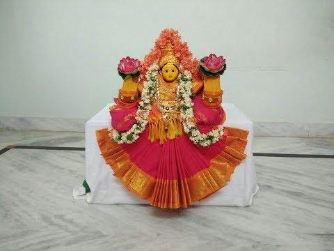 varalakshmi-&-dussehra-durga-devi-draping-saree-//-saree-decoration-for-goddess-//-dasara-alankarana