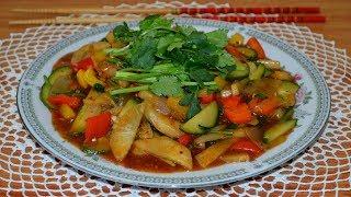 Жареные овощи в кисло-сладком соусе(炒糖醋蔬菜,Chǎo táng cù shūcài). Китайская кухня.