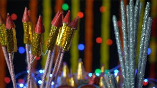 Closeup shot of different colorful firecrackers on the festival of Diwali with bokeh effect