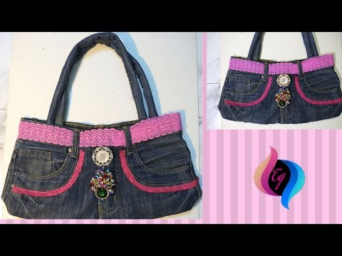 How to make handbag from old jeans - Jeans bags handmade - Recycle old jeans thumbnail