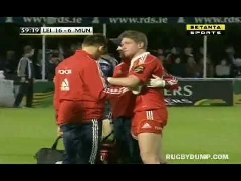 Jamie Heaslip flattens Ronan O'Gara