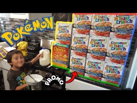 POKEMON CARDS In Our Honey Cinnamon Nut Toast Cheerios Crunch Cereal! Eating The BIGGEST Cereal Bowl