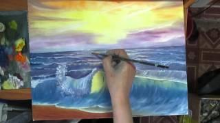 Волна ,берег моря. Живопись маслом. Видео урок.