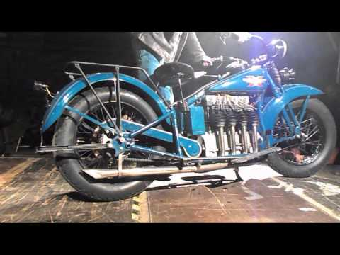 All blue vintage bike - Henderson fired-up