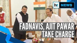 Devendra Fadnavis & Ajit Pawar after taking oath as CM & Deputy CM