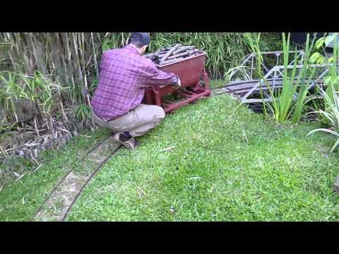 Ride-on backyard railroad (4) - Tipping car - YouTube