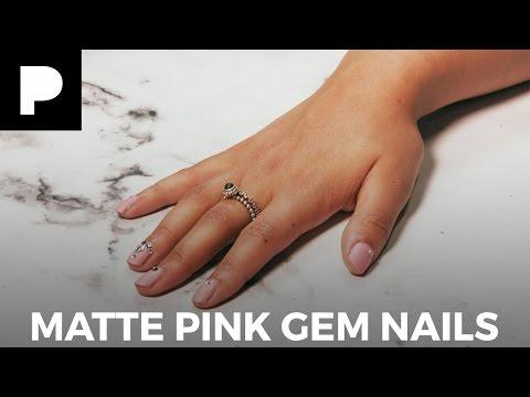 Easy Matte Pink Gem Nails Tutorial