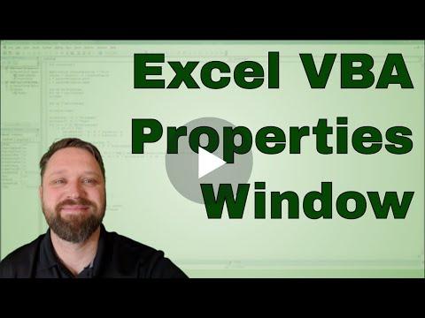 Excel VBA Visual Basic Editor Properties Window