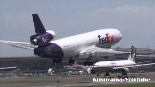 [HD]wind shear Crosswind landing at Narita Airport. MD-11