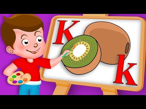 Drawing Alphabet K Letter with kiwi fruit Drawing Paint And Colouring For Kids | Kids Drawing TV