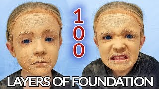 100 Layers of Foundation and Powder Challenge! Unrecognizable!