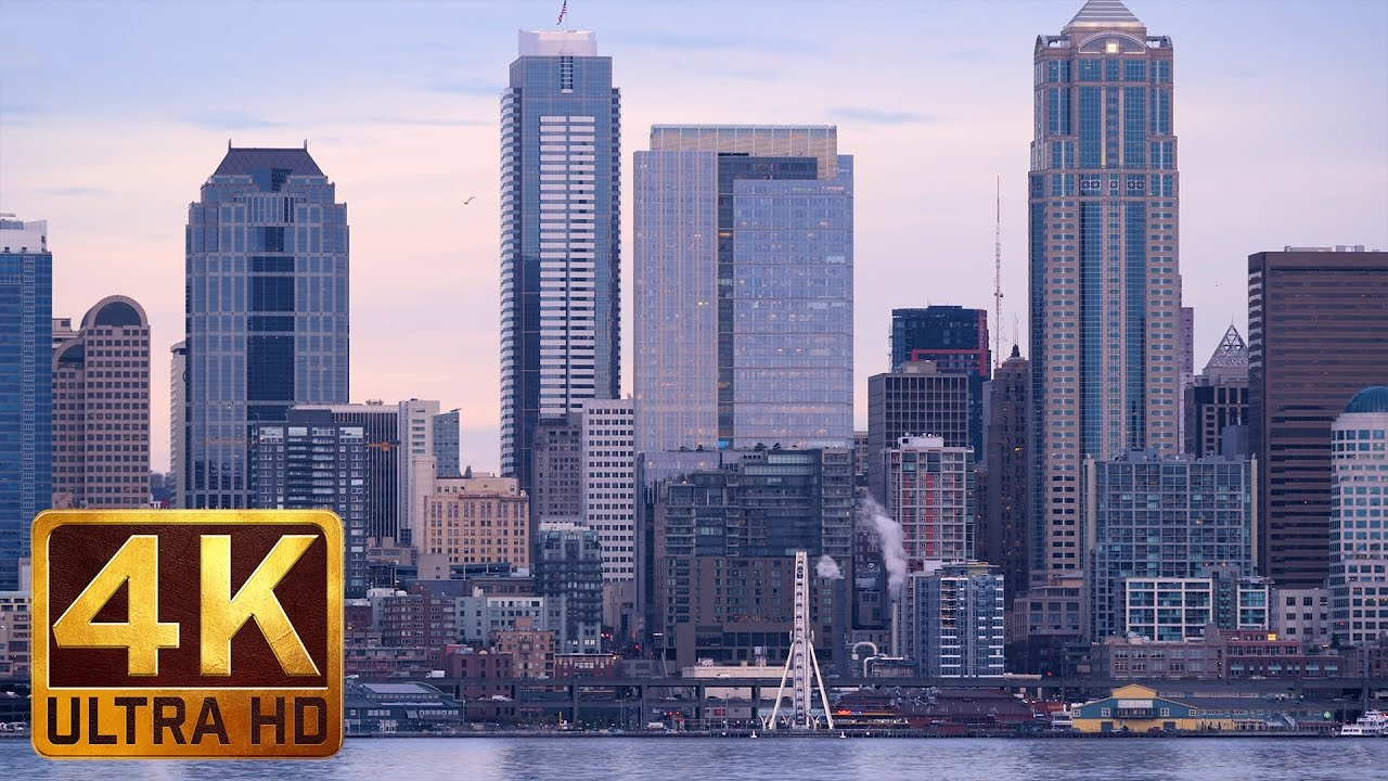 Seattle 4K UHD Cityscape | View From Alki Beach with Sailing Ships Views - Trailer
