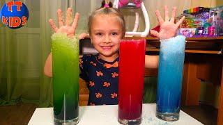Проводим Эксперименты - Выращиваем Цветной Снег с Ярославой - Видео для детей