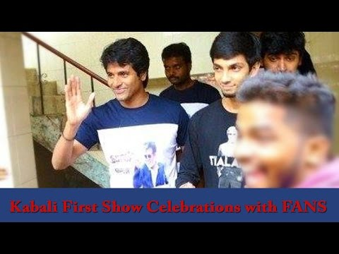 Sivakarthikeyan & Aniurdh joins Kabali's FDFS celebration with fans
