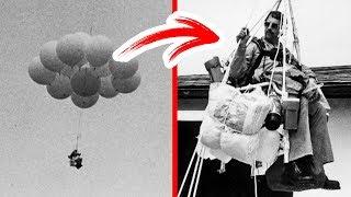 Người đàn ông này đã ngồi trên một chiếc ghế gắn bóng bay và lơ lửng trên trời trong 90 phút