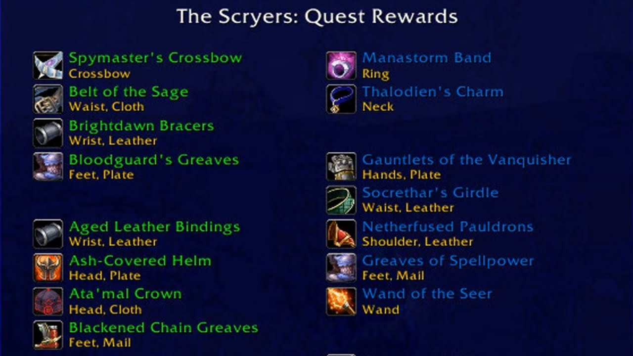 aldor scryer complete list of all quest rewards wow tbc youtube rh youtube com Neverwinter Scryer Scryer Quartermaster