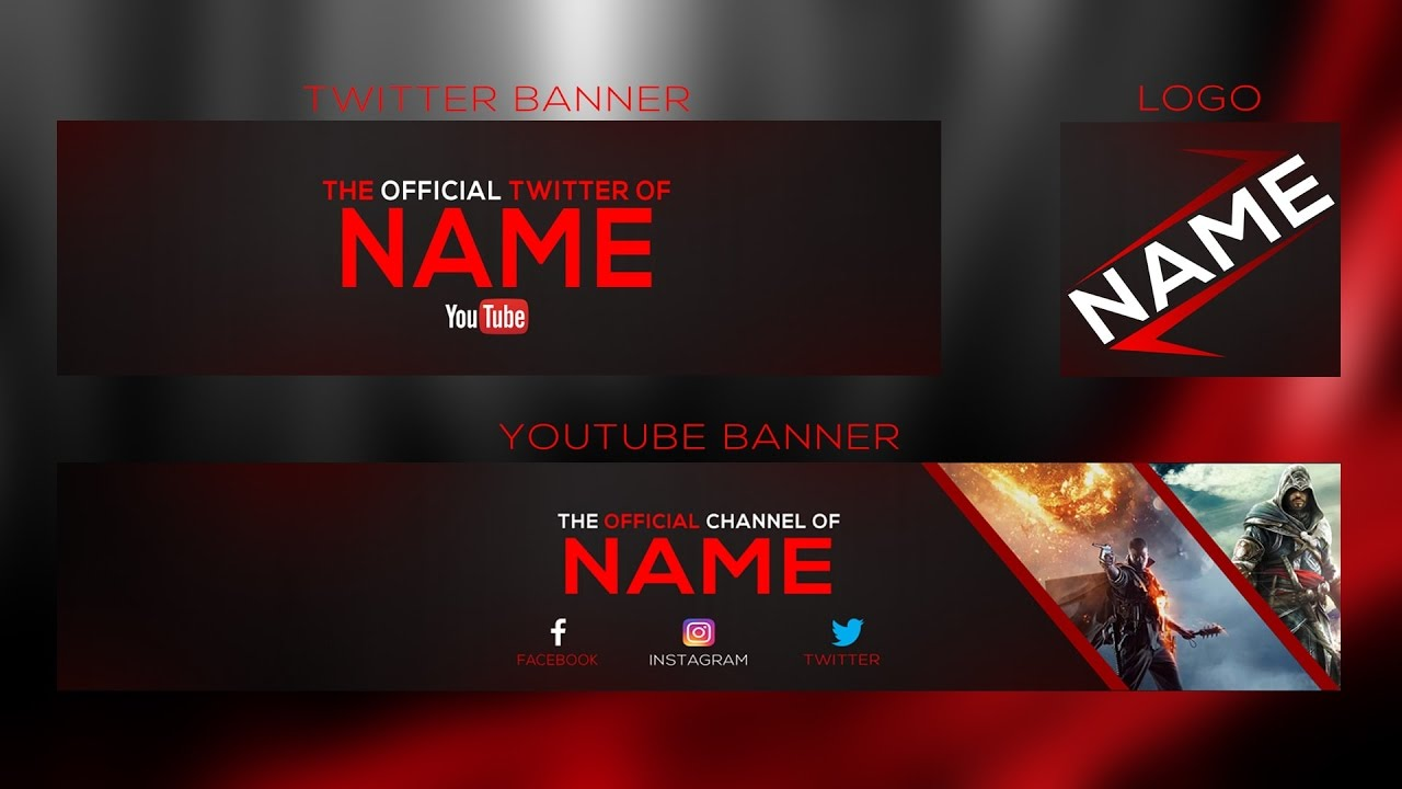 New 2017 Banner Template | YouTube Banner + Twitter Banner And Logo ...