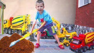 Tractor Excavator and more Trucks and Cars for Sale - Kids Playing with Bruder Toys
