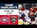 NHL Game Highlights | Canadiens vs. Panthers - Mar. 08, 2018