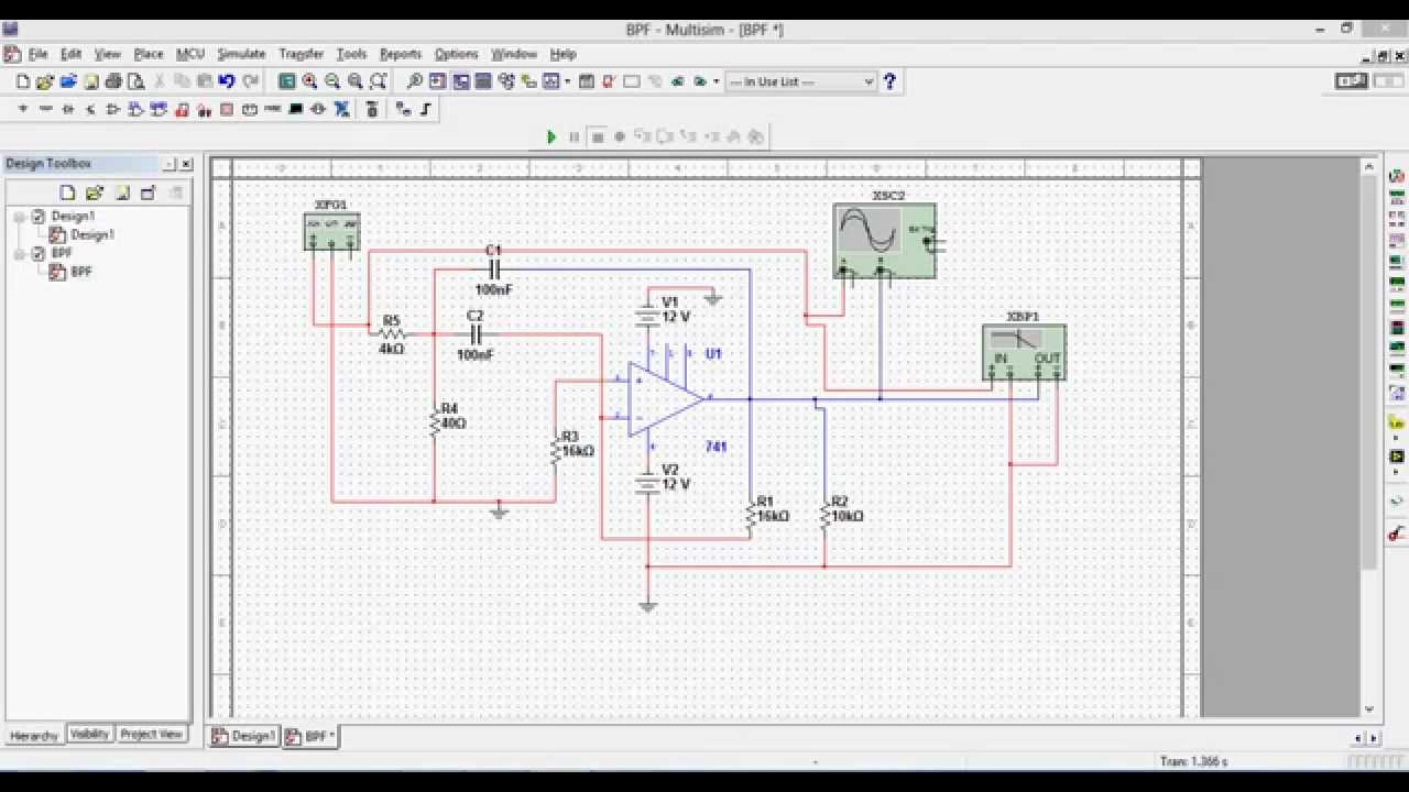 Simulation Of Narrow Band Pass Filter Bpf