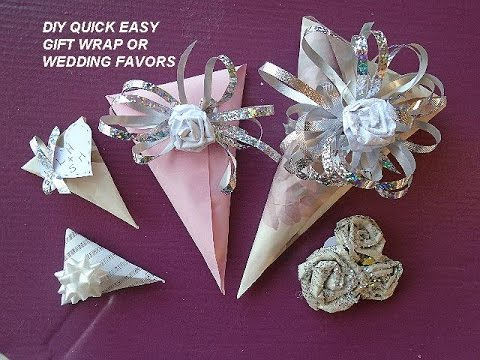 Easy Gift Wrap For Small Gifts Cone Shape Wedding Favors Youtube