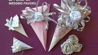 EASY GIFT WRAP for small gifts, cone shape, wedding favors