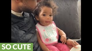 Baby girl has cutest manners ever while eating