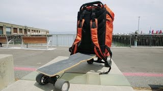 This backpack turns into an electric skateboard
