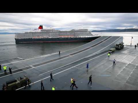 HMS Queen Elizabeth meets cruise liner MS Queen Elizabeth in Moray Firth