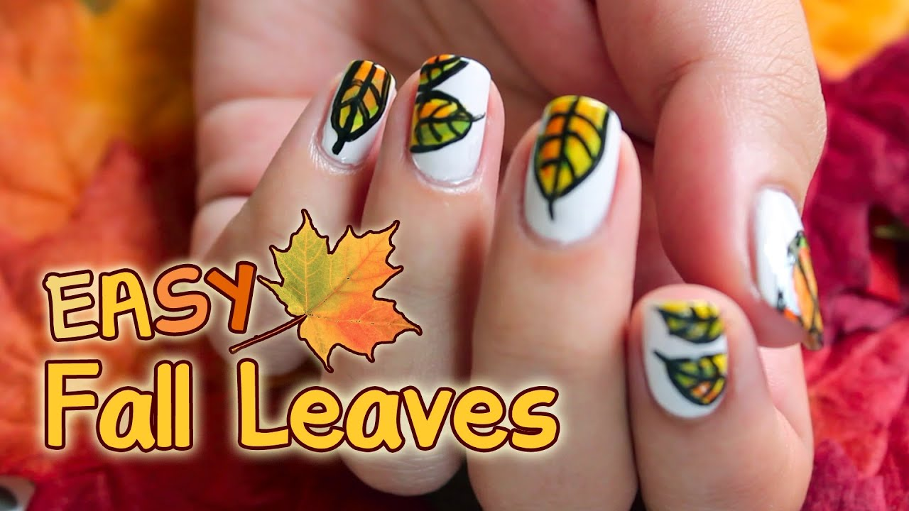 EASY FALL LEAVES NAIL ART - YouTube