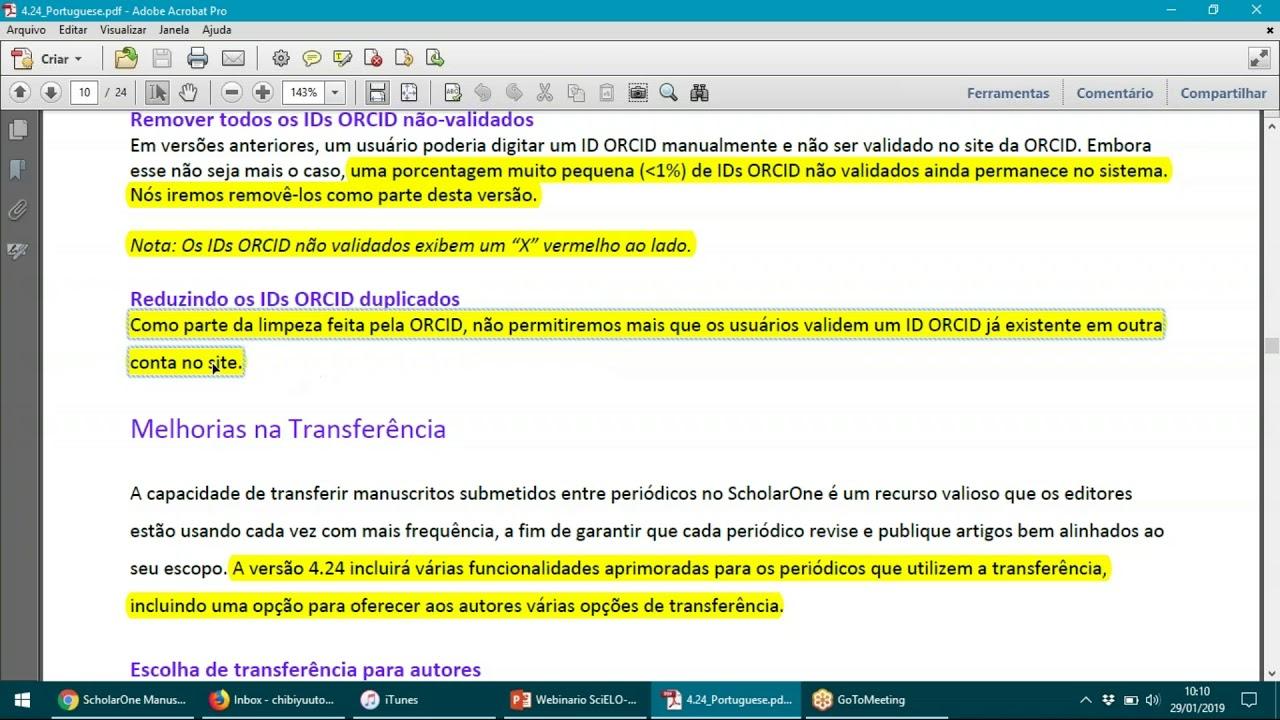 Webinário SciELO ScholarOne 29/01/2019