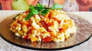 тушеные кабачки с рисом или рис с овощами. Простой и вкусный рецепт постного блюда