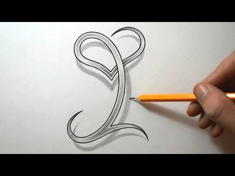 Drawing the Letter I with a Heart Combined - YouTube