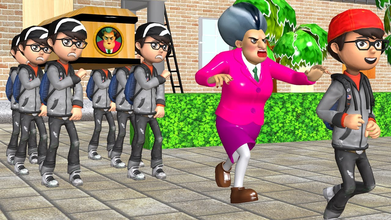 Scary Teacher 3D Nick Troll Miss T with Adhesive Coffin Dance Compilation Version