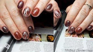 Ужасные отслойки Блестящий дизайн ногтей Маникюр на клиенте Укрепление ногтей гелем без опила