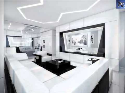 white and black modern living room